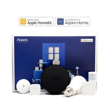 Starter KIT Aqara EU Smart Home 6 in 1, securitate, iluminat, alerta inundatie, compatibil HomeKit, versiunea Europeana
